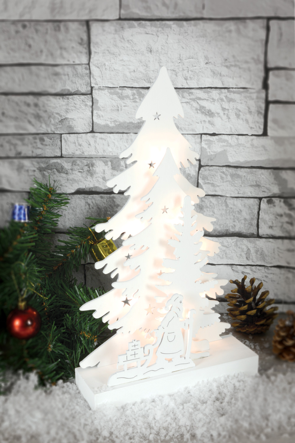 Lyyt Nordic Christmas Tree with Santa Decoration Light Xmas Wooden ...