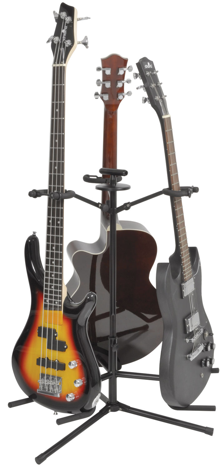 Triple Guitar Stand Adjustable Universal Electric Acoustic Bass 3