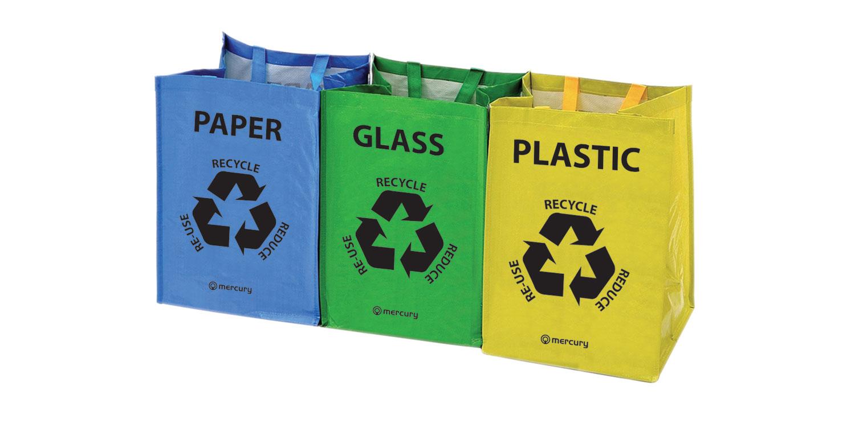 Juego de 3 bolsas de plástico de color codificado de reciclaje de RECICLAJE PAPEL VIDRIO Bolsa De Almacenamiento Bin